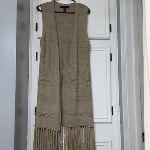 FOREVER 21 crocheted sweater maxi duster w/ fringe
